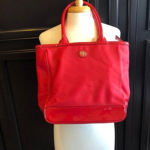 Tory Burch red nylon and patent leather tote bag